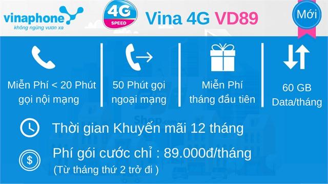 Sim Vinaphone 4G VD89 đầu 10 số