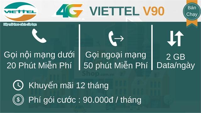 Sim V90 Viettel 4G 10 số