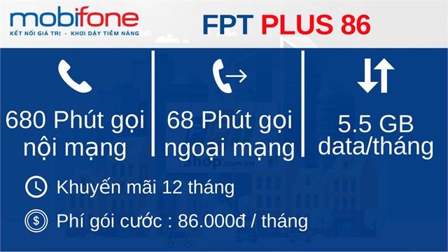 Sim Mobifone FPT86PLUS đầu 10 số